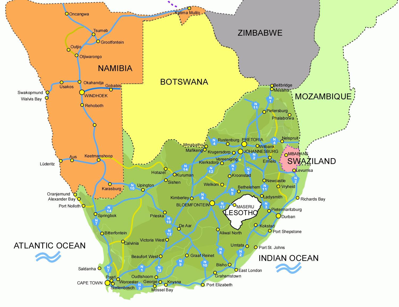 Südafrika Karte.Lesotho Süd Afrika Karte Karte Von Lesotho Und Südafrika